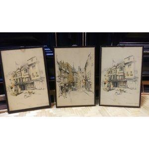 Set of 3 Marjorie Bates Wood Hanging Plaques